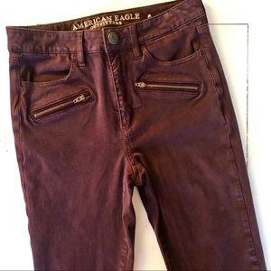 American Eagle Maroon Skinny Jeans 6 X-Long